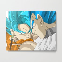 goku super saiyan god blue vs vegeta evolution dragon ball super 2018 Metal Print