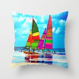 Neon Sailboats -Daytona Beach Throw Pillow