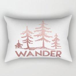 WANDER Adventure Forest Rose Gold Pink Rectangular Pillow