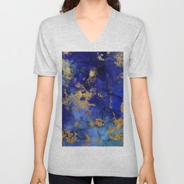 Gold And Blue Indigo Malachite Marble Unisex V-Neck