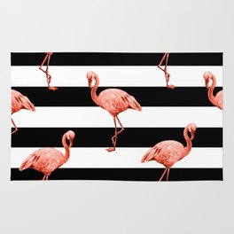 Simply Flamingo Deep Coral on Midnight Black Stripes Rug