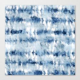 Modern hand painted dark blue tie dye batik watercolor Canvas Print