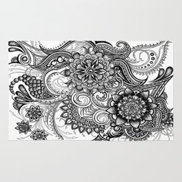 Freeform Black and White Ink Drawing Rug