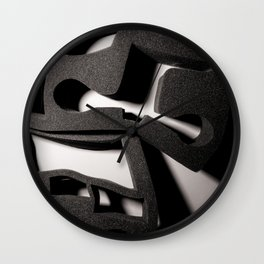 Shadow of Foam Abstract Two in Black and White Wall Clock