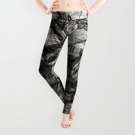 Breaking Loose - Charcoal on Newspaper Figure Drawing Leggings