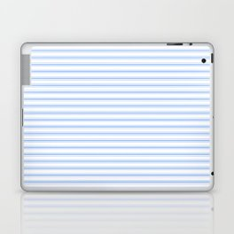 Mattress Ticking Narrow Horizontal Stripe in Pale Blue and White Laptop & iPad Skin