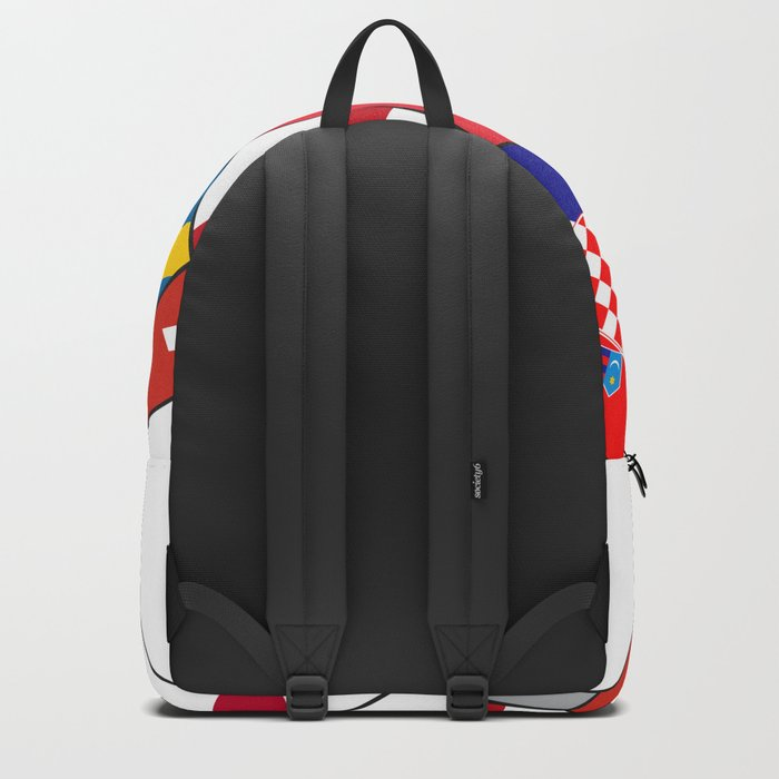 Football ball with various flags - semifinal and final Backpack