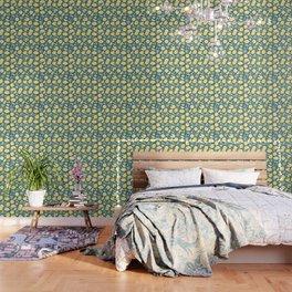 Lemon Pattern Green Wallpaper