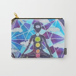 Meditation Chakra Space Tapestry Rainbow Galaxy Psychedelic Painting Art (Intergalactic Beings) Carry-All Pouch