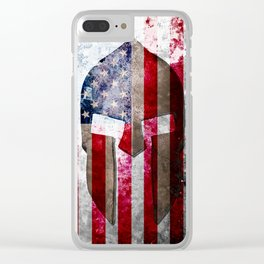 Molon Labe - Spartan Helmet Across An American Flag On Distressed Metal Sheet Clear iPhone Case