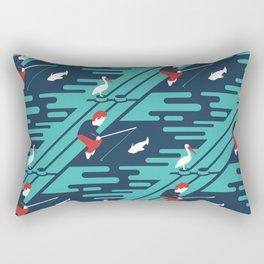 Fishing on the Dock Pattern Rectangular Pillow