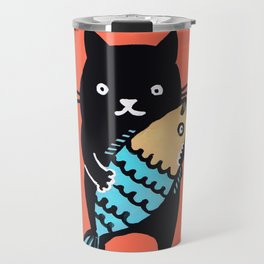 kitty with fish Travel Mug