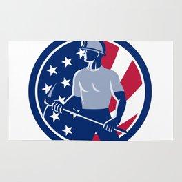American Coal Miner USA Flag Icon Rug