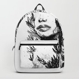 BLACK N WHITE WOMEN ABSTRACT FACE-LOVE Backpack