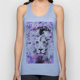 LION PINK and WHITE Unisex Tank Top
