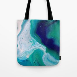 Abstract Mable Colorful Blue Turquoise Fluid Acrylic Painting Design Tote Bag