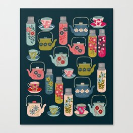 Vintage Thermos - Teacups and Teapots by Andrea Lauren Canvas Print
