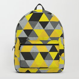 Sunny Yellow and Grey / Gray - Hipster Geometric Triangle Pattern Backpack