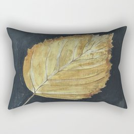 Hand-Painted Fall Ash Leaf Rectangular Pillow