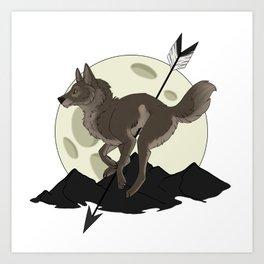 Wolf Moon and Arrow Art Print
