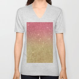 Pink abstract gold ombre glitter Unisex V-Neck