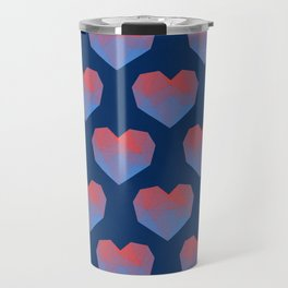 Polygon Heart Seamless Pattern Travel Mug
