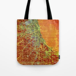 Chicago Illinois old map year 1947, vintage usa maps, colorful art Tote Bag