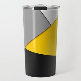 Simple Modern Gray Yellow and Black Geometric Travel Mug
