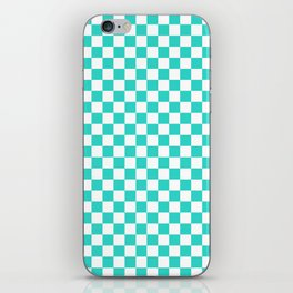 White and Turquoise Checkerboard iPhone Skin