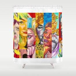 Female Faces Portrait Collage Design 1 Shower Curtain