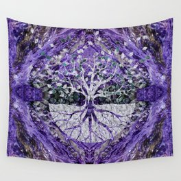 Silver Tree of Life Yggdrasil on Amethyst Geode Wall Tapestry