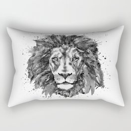 Black and White Lion Head Rectangular Pillow