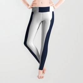 Yankees blue - solid color - white vertical lines pattern Leggings