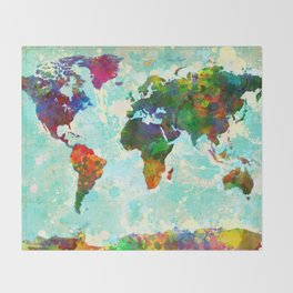 Abstract Map of the World Throw Blanket