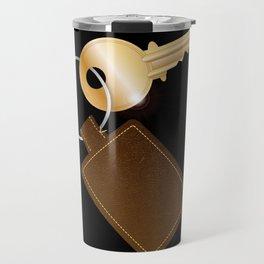 Leather Key Fob With Key Travel Mug