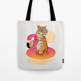 Chillin (Flamingo Tiger) Tote Bag