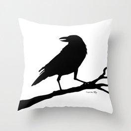 Raven - black/white Throw Pillow