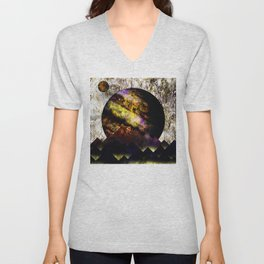 The mountains and the planet Unisex V-Neck