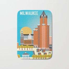 Milwaukee, Wisconsin - Skyline Illustration by Loose Petals Bath Mat