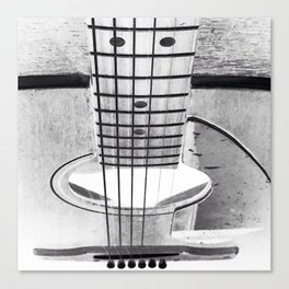 Guitar Strings - Black and White Canvas Print