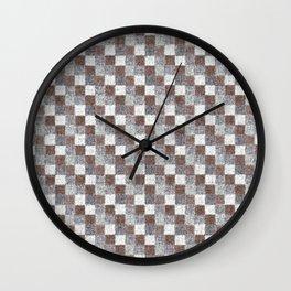 Rustic Brown Gray Beige Patchwork Wall Clock