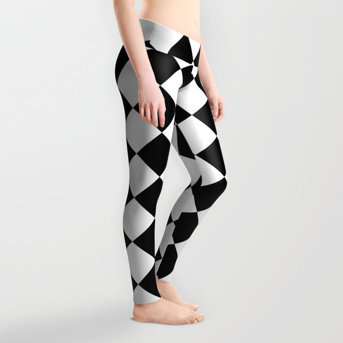 Contemporary Black & White Gingham Pattern - Mix and Match Leggings