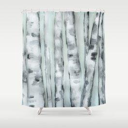 Birch trees in winter Shower Curtain