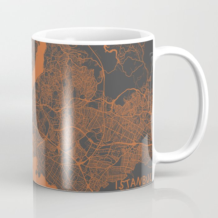Istanbul Map orange Coffee Mug
