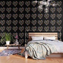 Distressed Hearts Heart Black Wallpaper