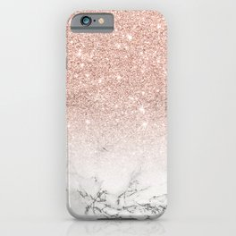 Modern faux rose pink glitter ombre white marble iPhone Case