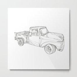 Vintage Pickup Truck Doodle Art Metal Print