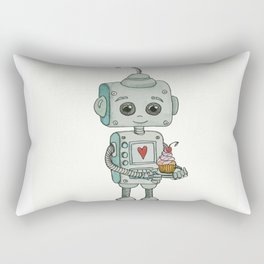 The feeling when your cute little robot brings you a cupcake in the morning :) Rectangular Pillow