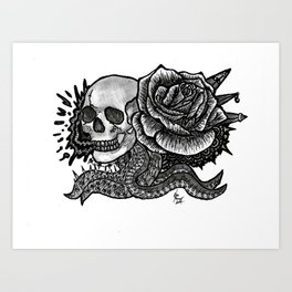 Death and Rose Art Print