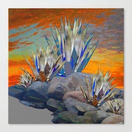 AGAVE CACTI DESERT SUNSET LANDSCAPE ART Canvas Print